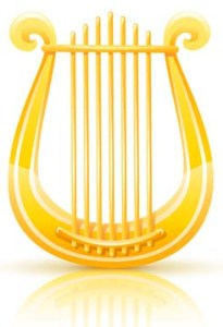 greek golden lyre. Rasterized illustration. Vector version also